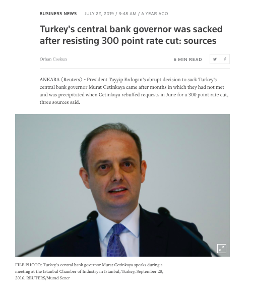 2019: Turkey's central bank governor was sacked after resisting 300 point rate cut
